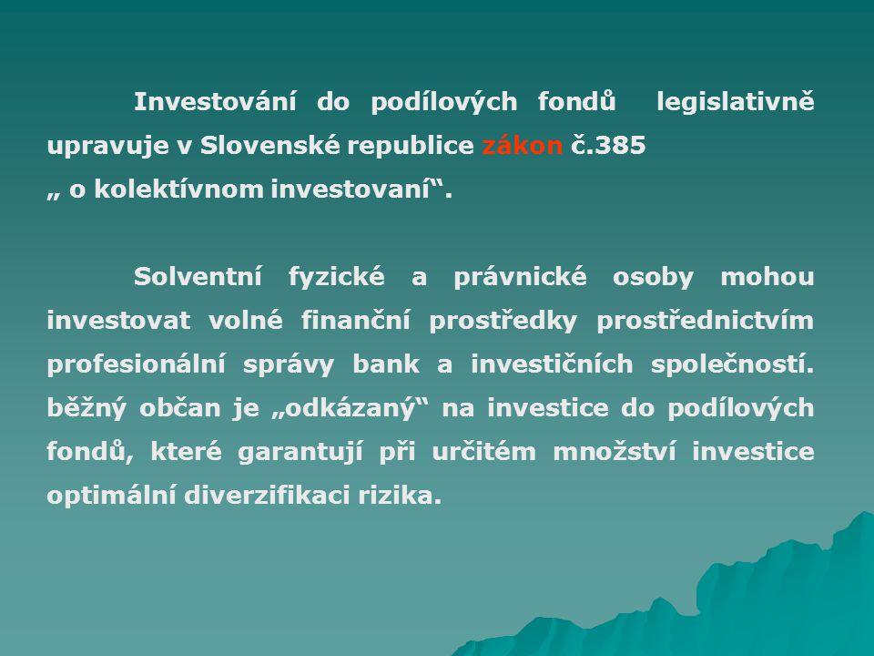 """Investování do podílových fondů legislativně upravuje v Slovenské republice zákon č.385 """" o kolektívnom investovaní ."""