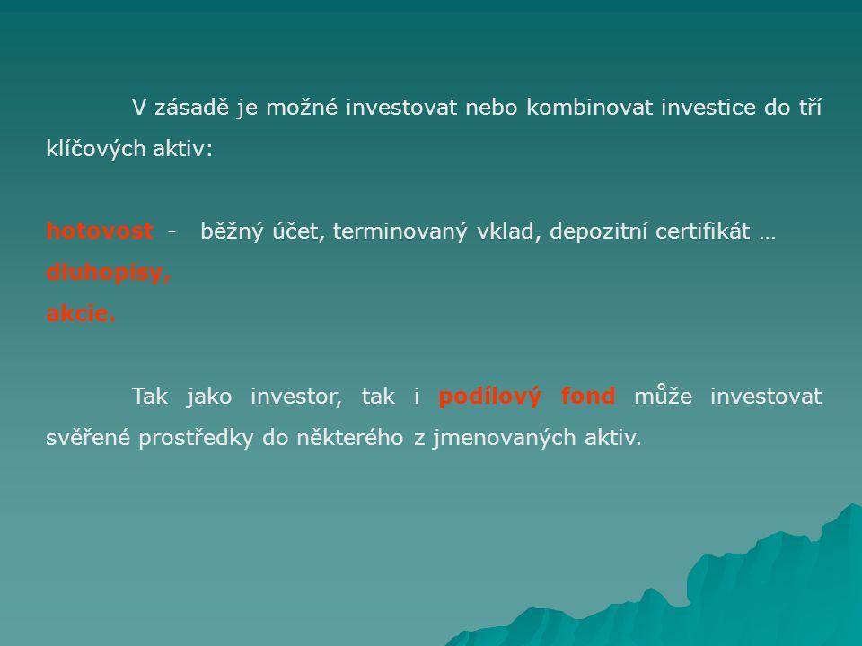 V zásadě je možné investovat nebo kombinovat investice do tří klíčových aktiv: hotovost - běžný účet, terminovaný vklad, depozitní certifikát … dluhopisy, akcie.