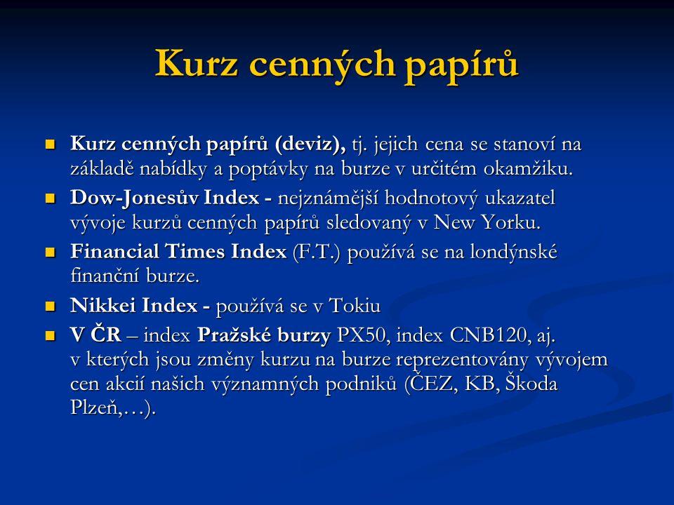 Kurz cenných papírů Kurz cenných papírů (deviz), tj. jejich cena se stanoví na základě nabídky a poptávky na burze v určitém okamžiku. Kurz cenných pa