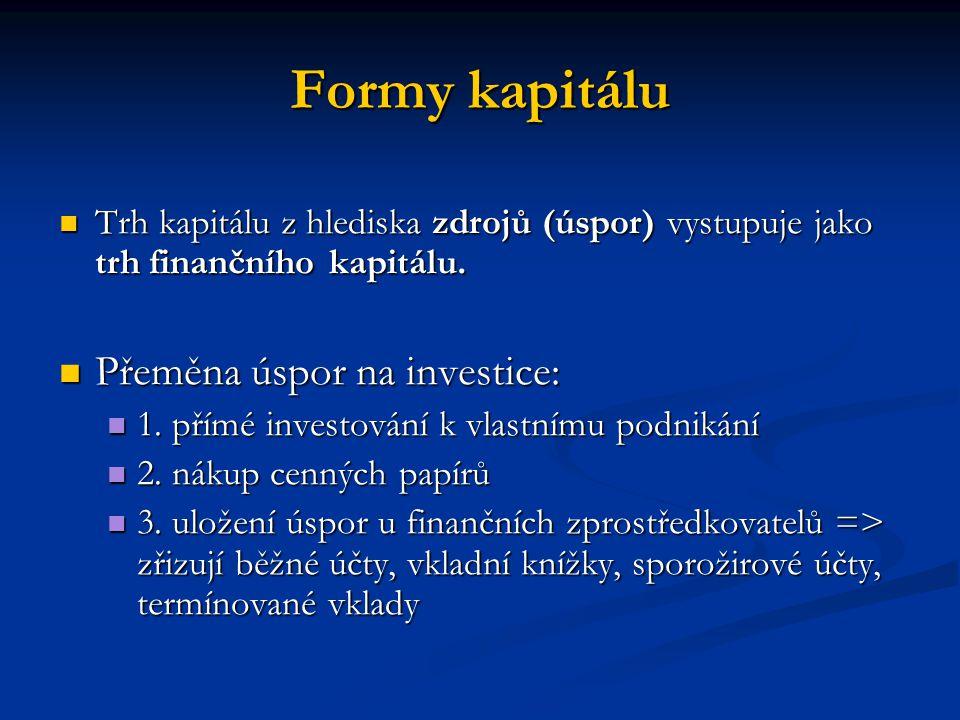 Formy kapitálu Trh kapitálu z hlediska zdrojů (úspor) vystupuje jako trh finančního kapitálu. Trh kapitálu z hlediska zdrojů (úspor) vystupuje jako tr