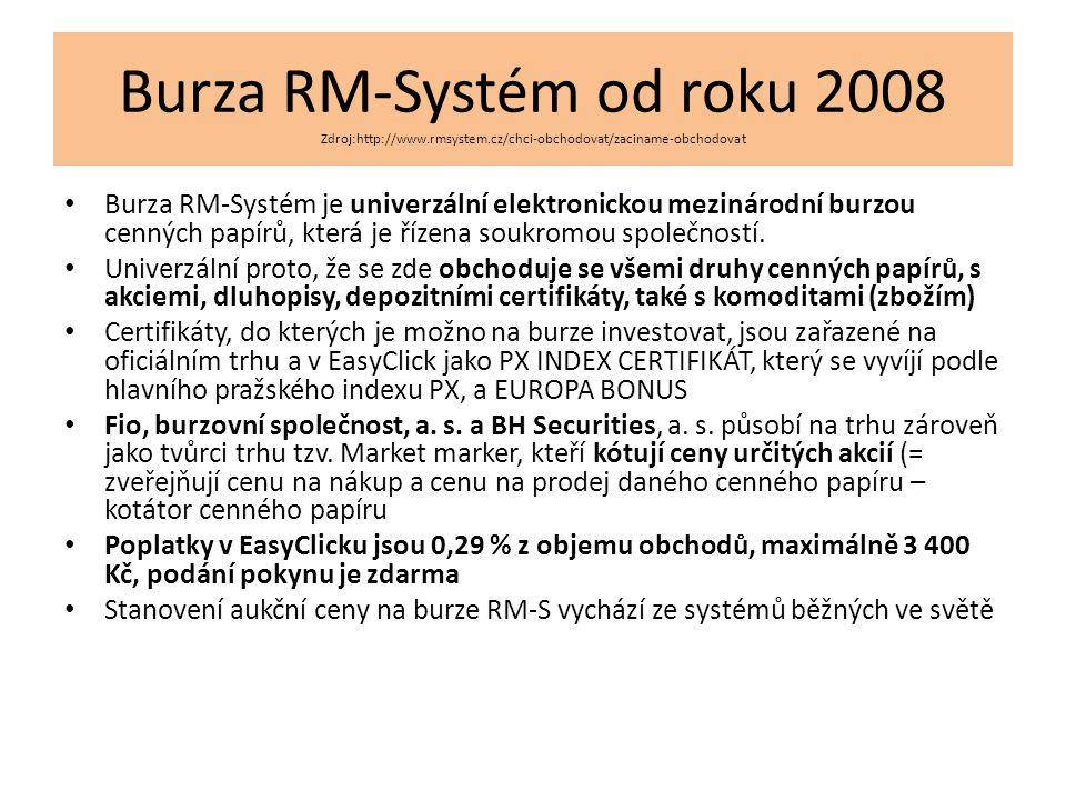 Burza RM-Systém od roku 2008 Zdroj:http://www.rmsystem.cz/chci-obchodovat/zaciname-obchodovat Burza RM-Systém je univerzální elektronickou mezinárodní