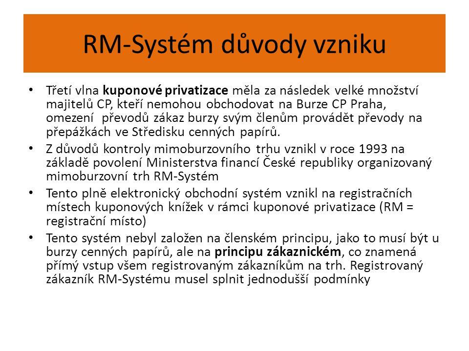 RM-Systém důvody vzniku Třetí vlna kuponové privatizace měla za následek velké množství majitelů CP, kteří nemohou obchodovat na Burze CP Praha, omeze