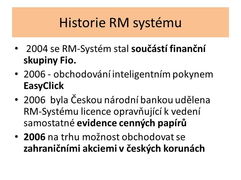 Historie RM systému 2004 se RM-Systém stal součástí finanční skupiny Fio. 2006 - obchodování inteligentním pokynem EasyClick 2006 byla Českou národní
