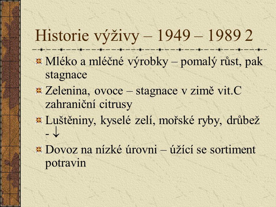 Historie výživy – 1949 – 1989 2 Mléko a mléčné výrobky – pomalý růst, pak stagnace Zelenina, ovoce – stagnace v zimě vit.C zahraniční citrusy Luštěnin