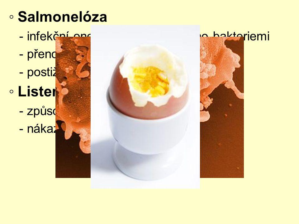◦ Salmonelóza - infekční onemocnění, způsobeno bakteriemi - přenos ze zvířete na člověka - postižení žaludku a střev ◦ Listerióza - způsobeno bakterie
