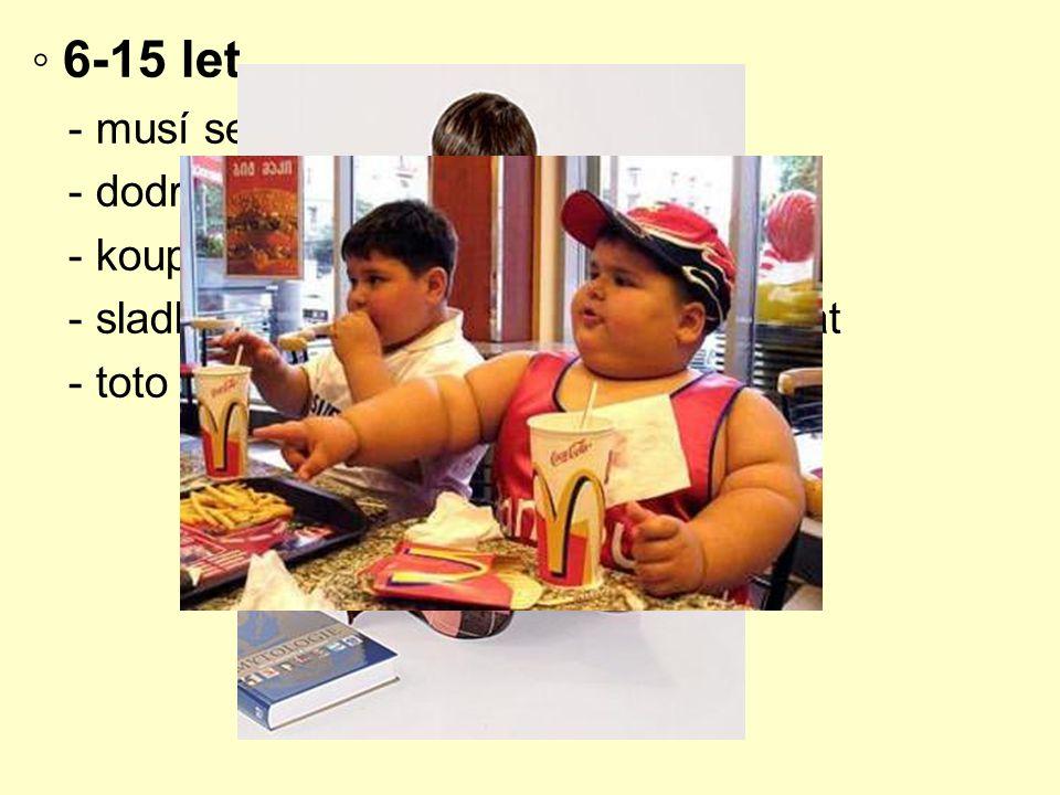 ◦ 6-15 let - musí se snídat - dodržování termínů jídel - koupit dítěti na co má chuť - sladké limonády není nutné zakazovat - toto období = obezita
