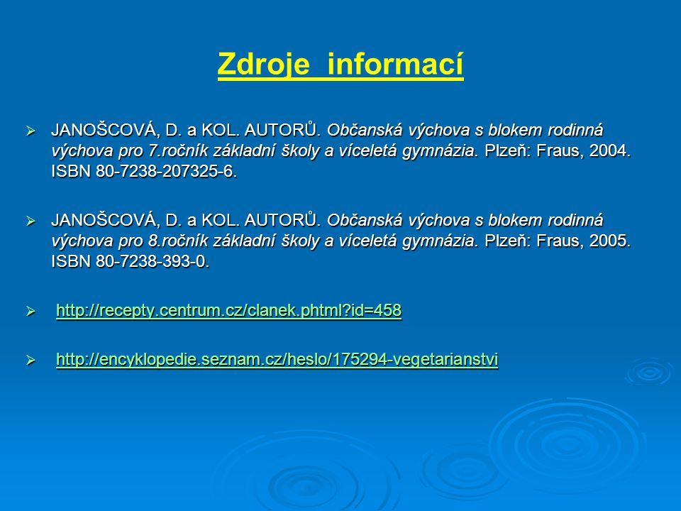 Zdroje informací  JANOŠCOVÁ, D.a KOL. AUTORŮ.