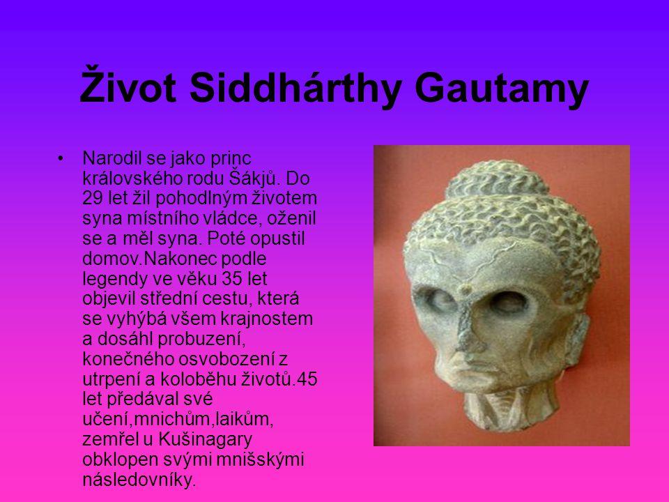Život Siddhárthy Gautamy Narodil se jako princ královského rodu Šákjů. Do 29 let žil pohodlným životem syna místního vládce, oženil se a měl syna. Pot
