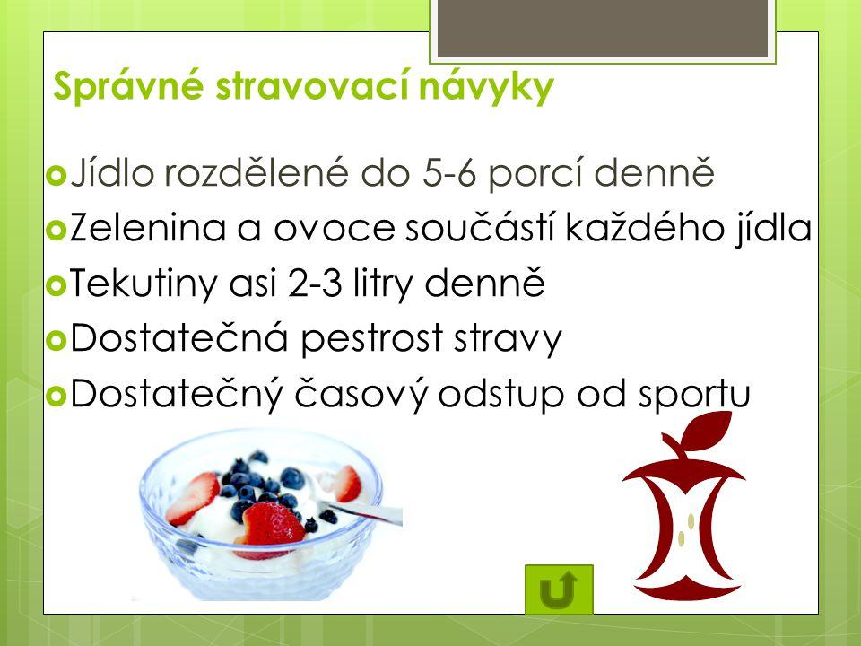 Správné stravovací návyky  Jídlo rozdělené do 5-6 porcí denně  Zelenina a ovoce součástí každého jídla  Tekutiny asi 2-3 litry denně  Dostatečná pestrost stravy  Dostatečný časový odstup od sportu