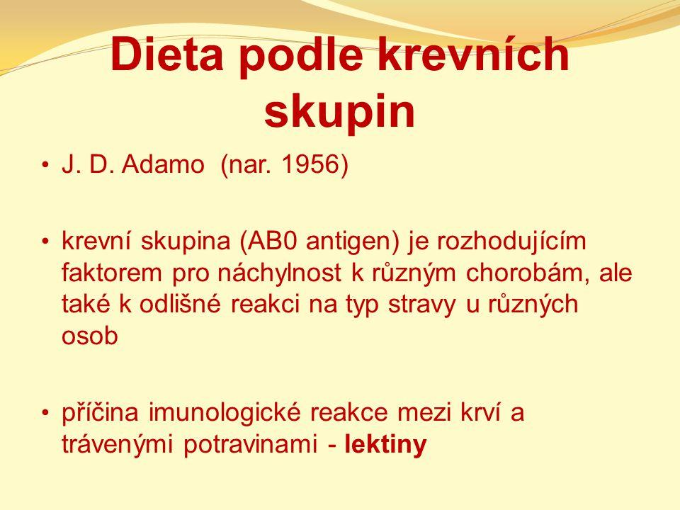 Dieta podle krevních skupin J. D. Adamo (nar. 1956) krevní skupina (AB0 antigen) je rozhodujícím faktorem pro náchylnost k různým chorobám, ale také k