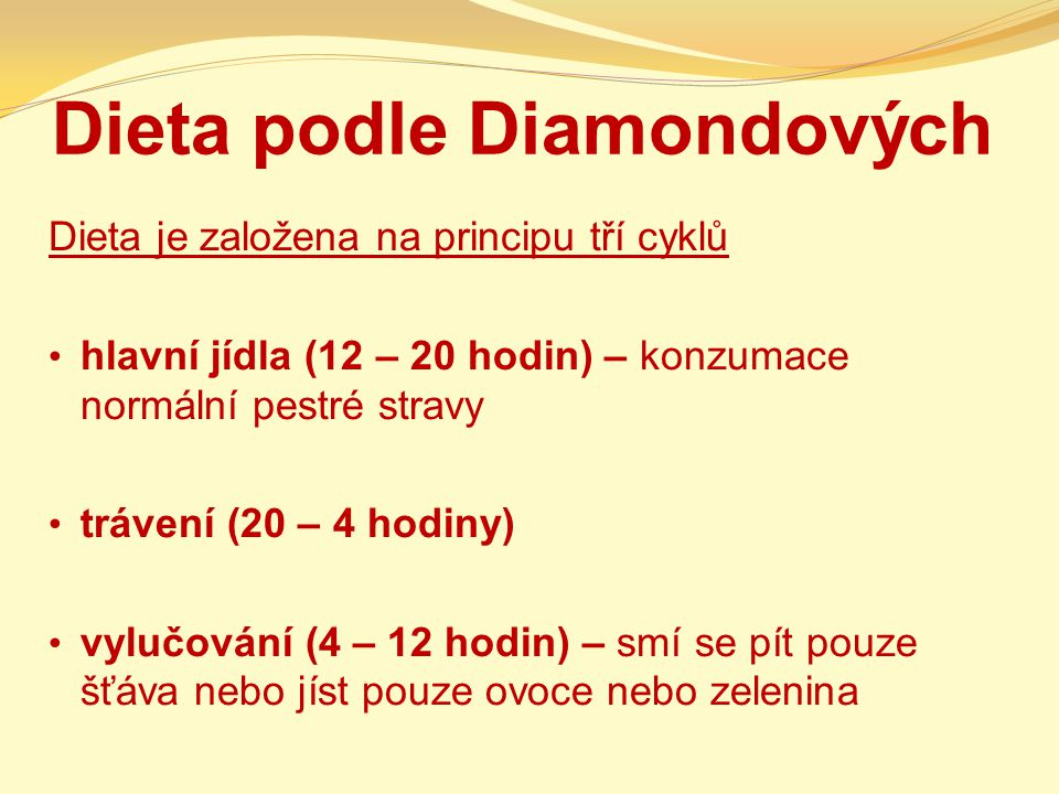 Dieta podle Diamondových Dieta je založena na principu tří cyklů hlavní jídla (12 – 20 hodin) – konzumace normální pestré stravy trávení (20 – 4 hodin