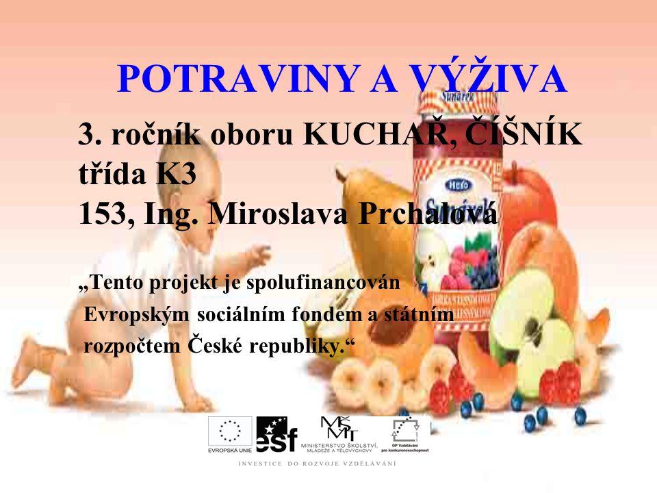 POTRAVINY A VÝŽIVA 3.ročník oboru KUCHAŘ, ČÍŠNÍK třída K3 153, Ing.