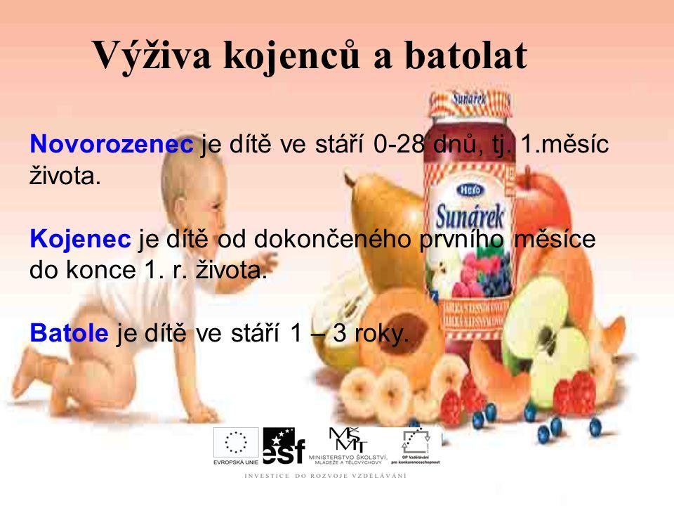 Strava novorozenců a kojenců Současný model výživy pro donošené, zdravé novorozence a později kojence vypadá takto: a) období plné mléčné výživy (první 4 měsíce života) - dítě může být kojené nebo dostává přípravky umělé výživy.