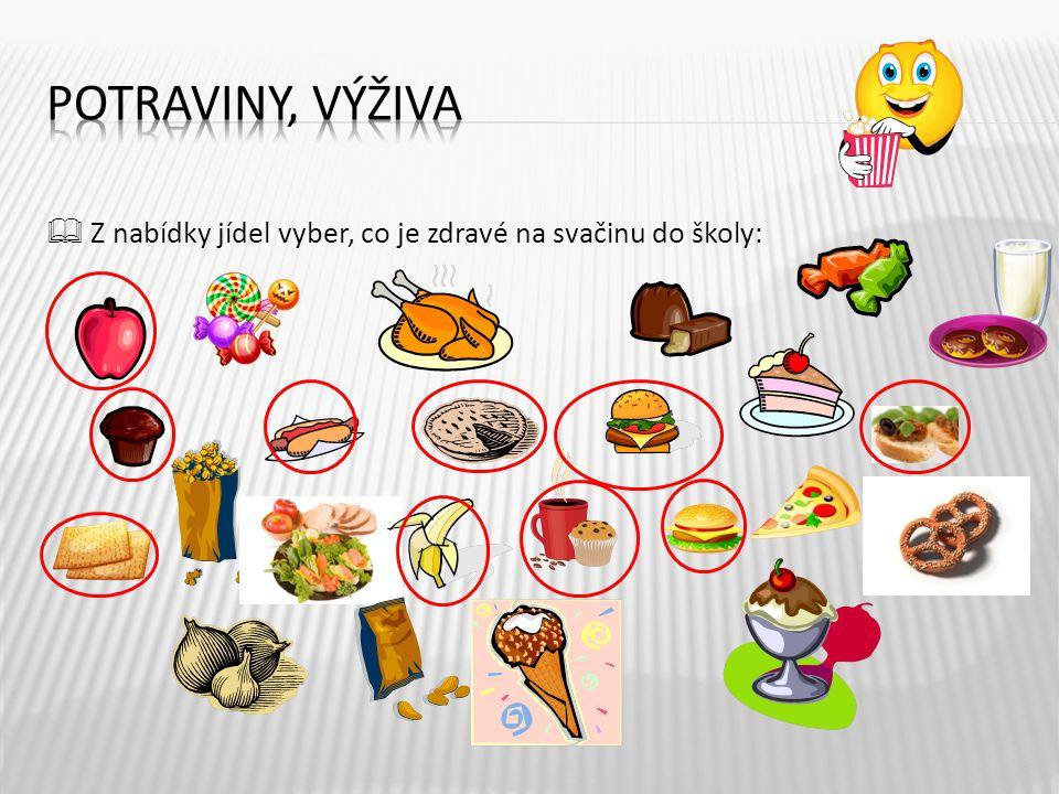 6  Z nabídky jídel vyber, co je zdravé na svačinu do školy: