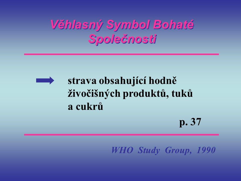Věhlasný Symbol Bohaté Společnosti strava obsahující hodně živočišných produktů, tuků a cukrů p. 37 WHO Study Group, 1990