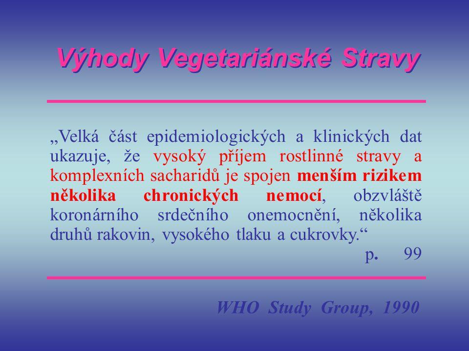 """Výhody Vegetariánské Stravy """"Velká část epidemiologických a klinických dat ukazuje, že vysoký příjem rostlinné stravy a komplexních sacharidů je spoje"""