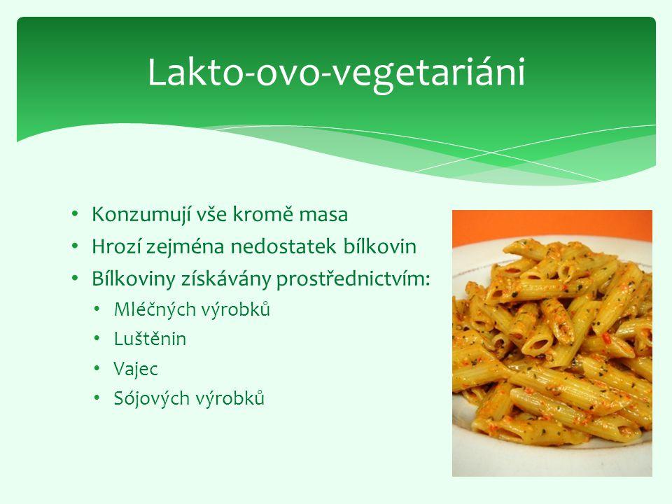 Konzumují vše kromě masa Hrozí zejména nedostatek bílkovin Bílkoviny získávány prostřednictvím: Mléčných výrobků Luštěnin Vajec Sójových výrobků Lakto