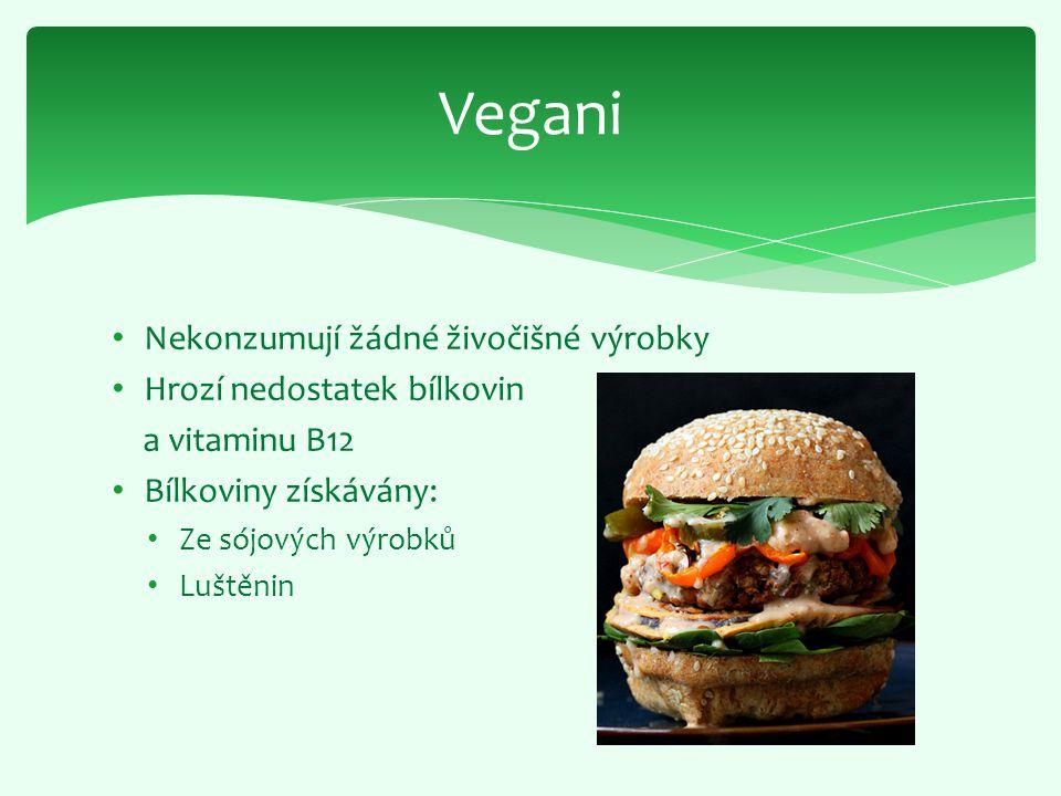 Nekonzumují žádné živočišné výrobky Hrozí nedostatek bílkovin a vitaminu B12 Bílkoviny získávány: Ze sójových výrobků Luštěnin Vegani