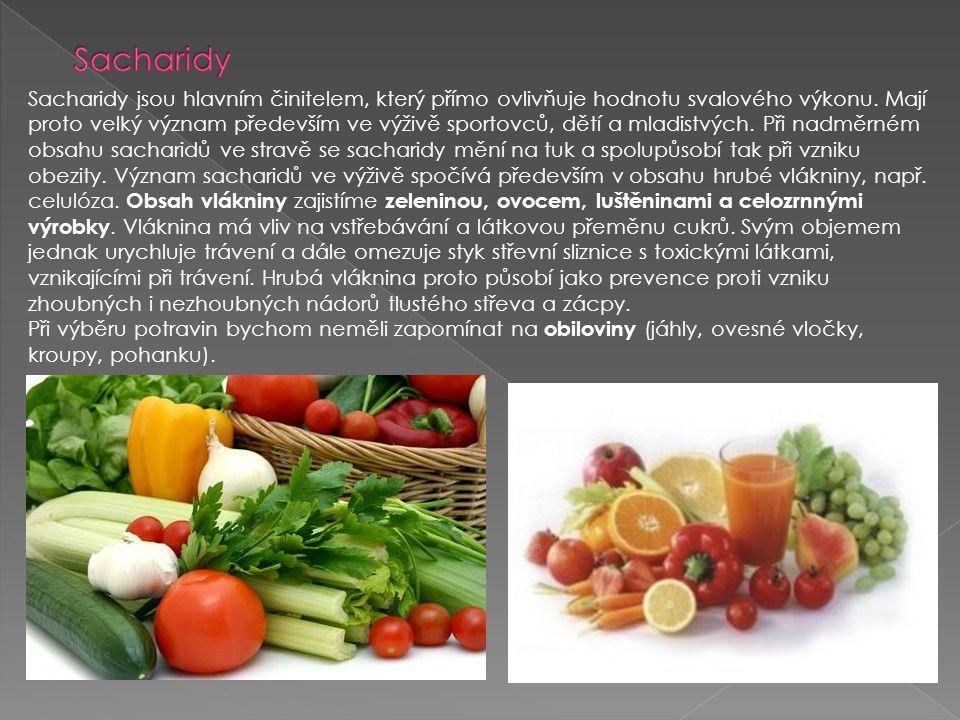 Sacharidy jsou hlavním činitelem, který přímo ovlivňuje hodnotu svalového výkonu. Mají proto velký význam především ve výživě sportovců, dětí a mladis