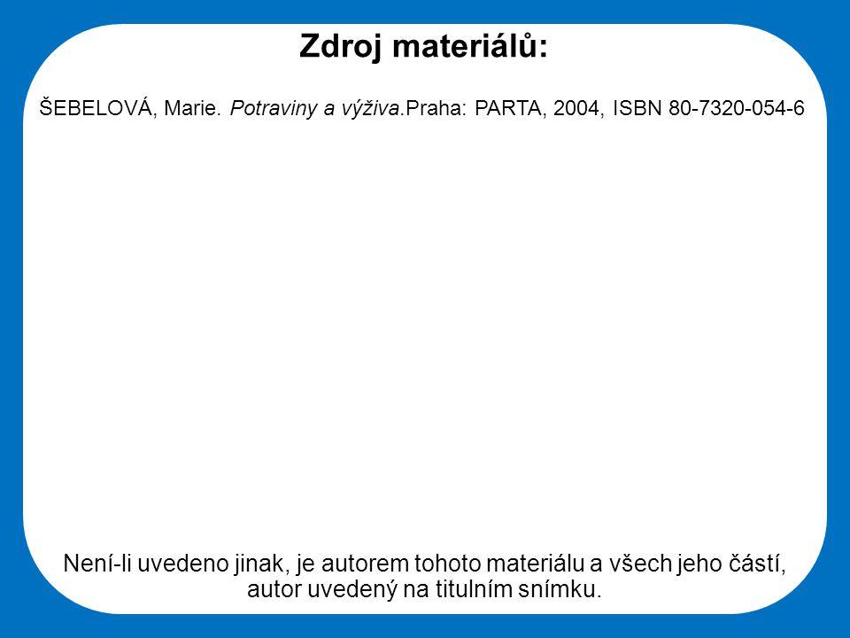 Střední škola Oselce Zdroj materiálů: ŠEBELOVÁ, Marie. Potraviny a výživa.Praha: PARTA, 2004, ISBN 80-7320-054-6 Není-li uvedeno jinak, je autorem toh