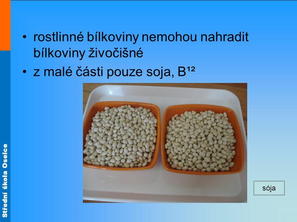 Střední škola Oselce rostlinné bílkoviny nemohou nahradit bílkoviny živočišné z malé části pouze soja, B¹² sója