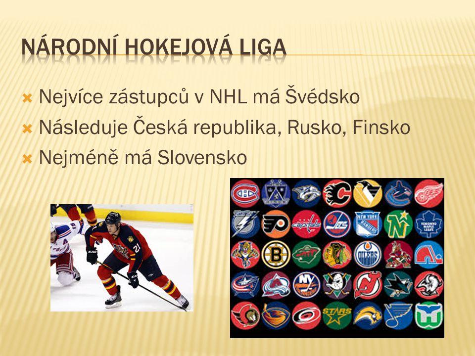  Nejvíce zástupců v NHL má Švédsko  Následuje Česká republika, Rusko, Finsko  Nejméně má Slovensko