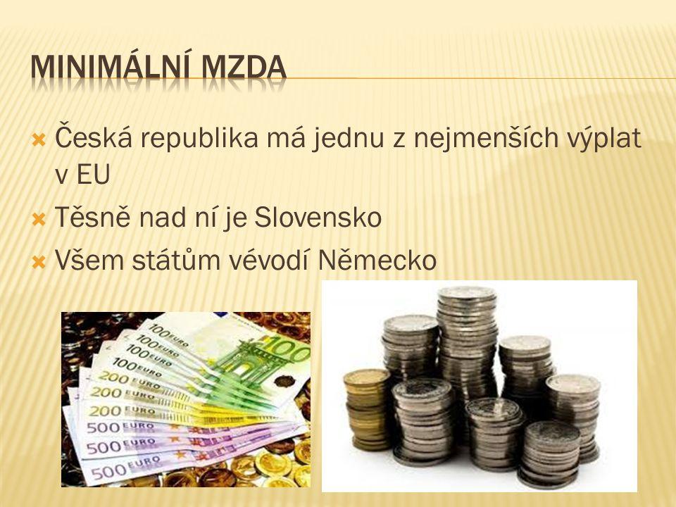  Česká republika má jednu z nejmenších výplat v EU  Těsně nad ní je Slovensko  Všem státům vévodí Německo