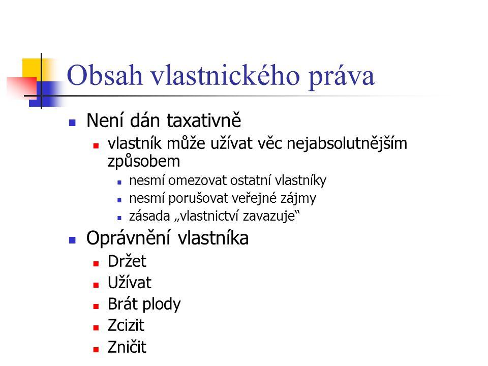 Obsah vlastnického práva Není dán taxativně vlastník může užívat věc nejabsolutnějším způsobem nesmí omezovat ostatní vlastníky nesmí porušovat veřejn