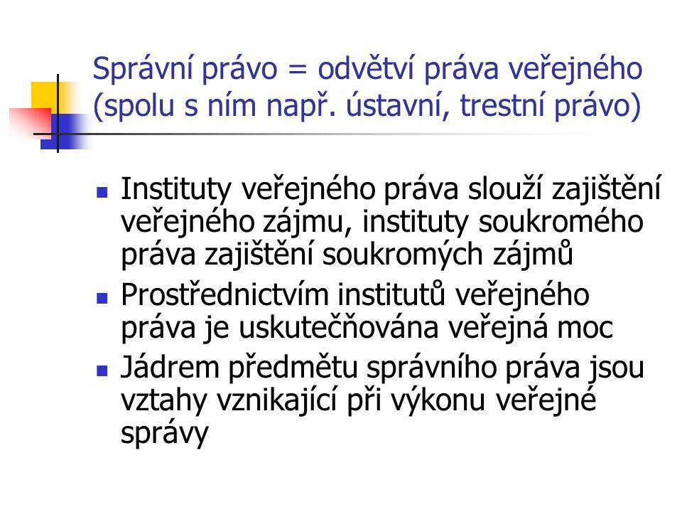 Správní právo = odvětví práva veřejného (spolu s ním např.