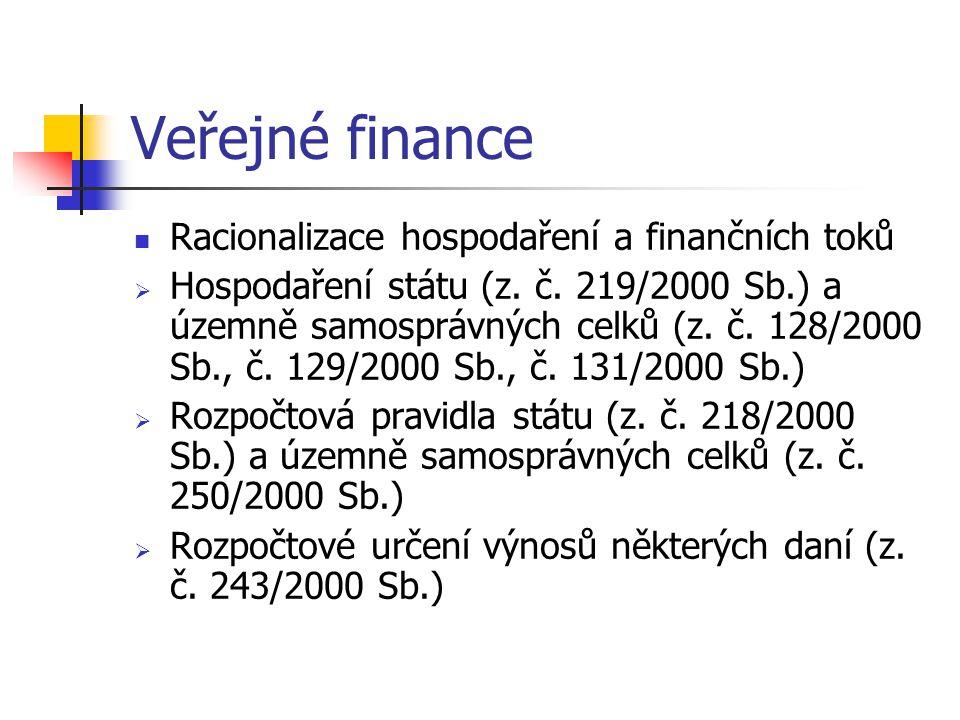 Veřejné finance Racionalizace hospodaření a finančních toků  Hospodaření státu (z.