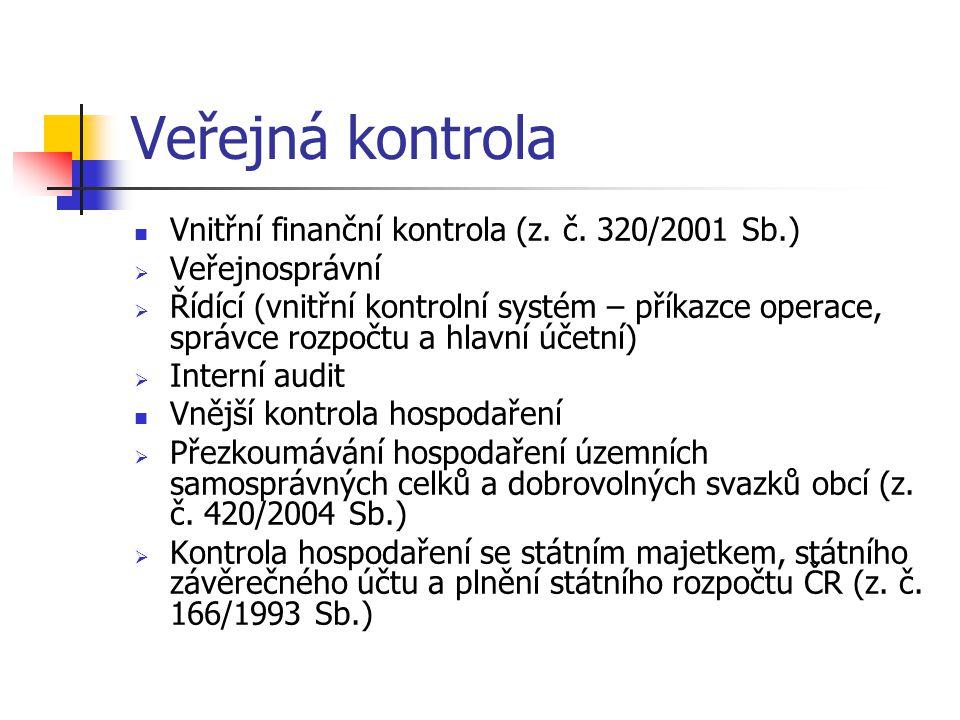 Veřejná kontrola Vnitřní finanční kontrola (z.č.