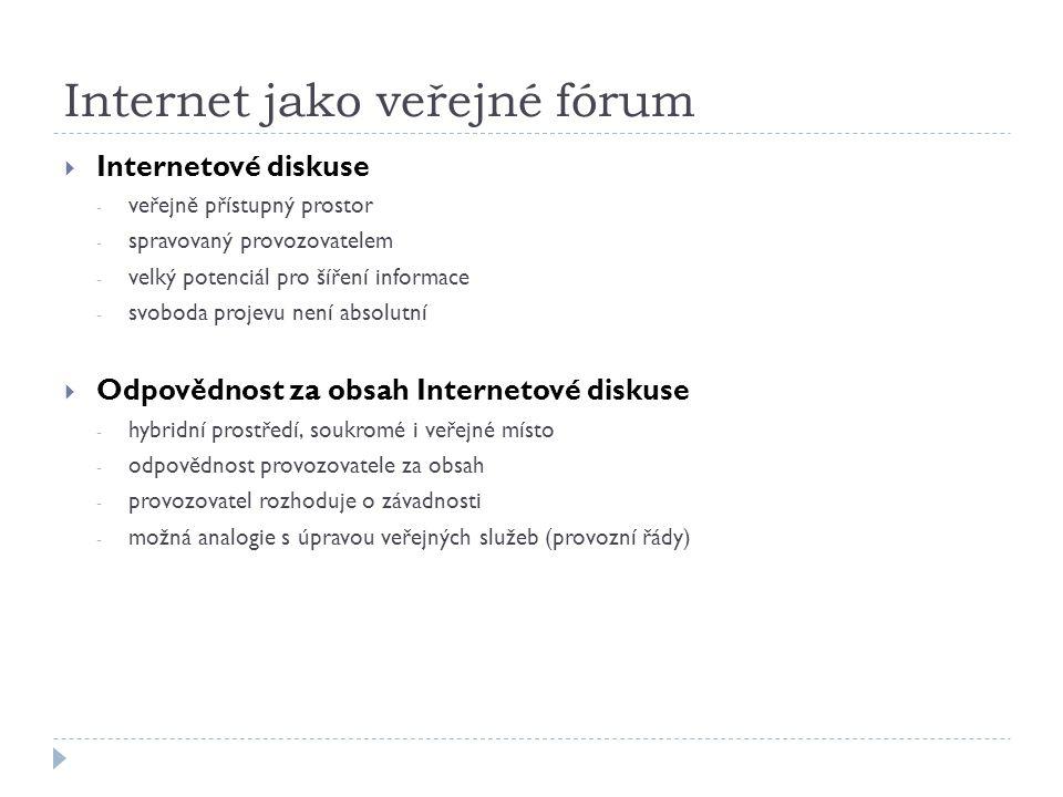 Internet jako veřejné fórum  Internetové diskuse - veřejně přístupný prostor - spravovaný provozovatelem - velký potenciál pro šíření informace - svo