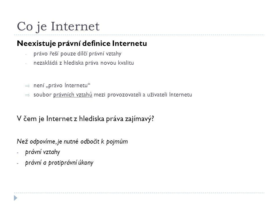 """Co je Internet Neexistuje právní definice Internetu - právo řeší pouze dílčí právní vztahy - nezakládá z hlediska práva novou kvalitu  není """"právo In"""