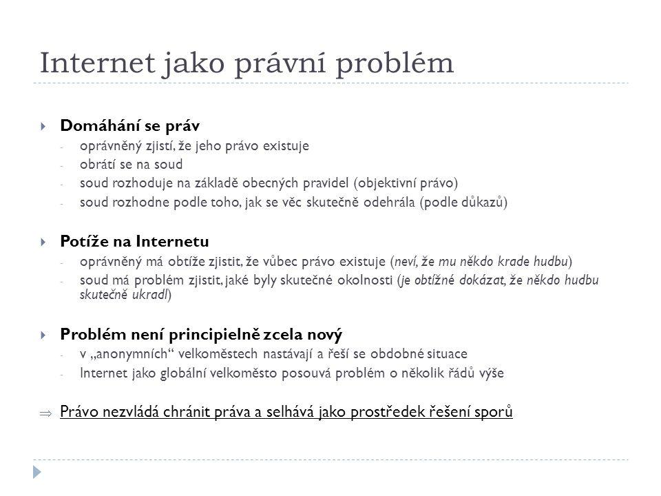 Internet jako právní problém  Domáhání se práv - oprávněný zjistí, že jeho právo existuje - obrátí se na soud - soud rozhoduje na základě obecných pr