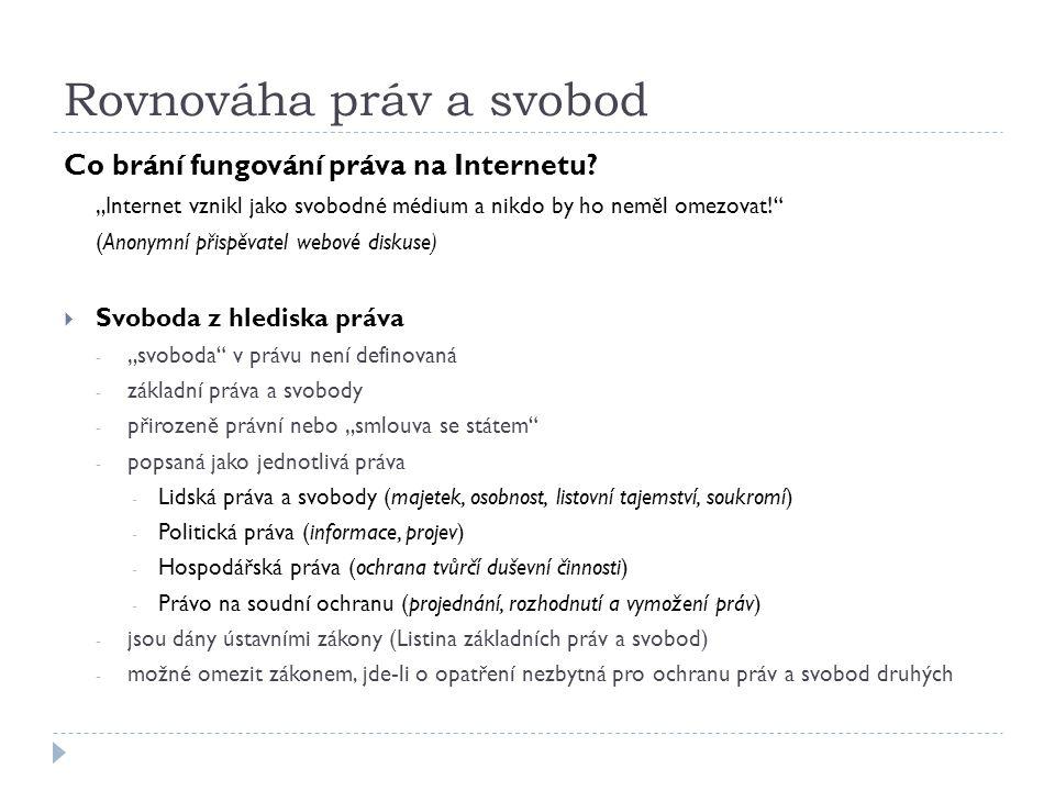 """Rovnováha práv a svobod Co brání fungování práva na Internetu? """"Internet vznikl jako svobodné médium a nikdo by ho neměl omezovat!"""" (Anonymní přispěva"""