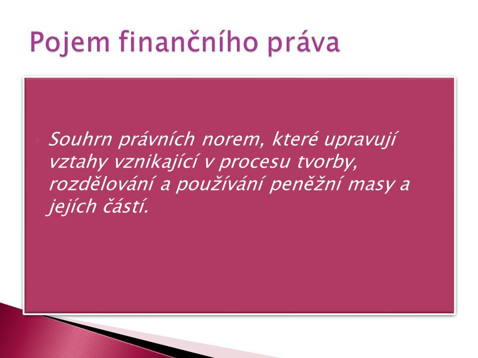  Souhrn právních norem, které upravují vztahy vznikající v procesu tvorby, rozdělování a používání peněžní masy a jejích částí.