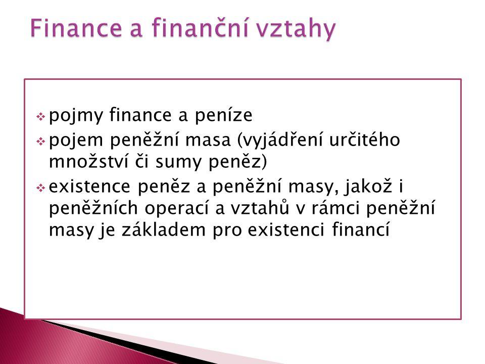  pojmy finance a peníze  pojem peněžní masa (vyjádření určitého množství či sumy peněz)  existence peněz a peněžní masy, jakož i peněžních operací a vztahů v rámci peněžní masy je základem pro existenci financí