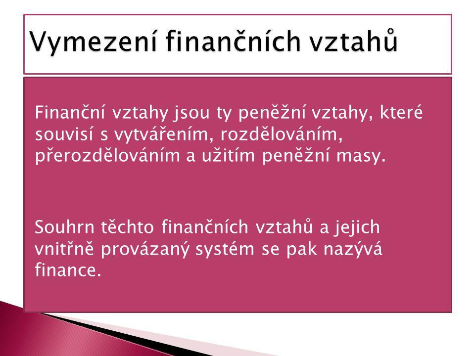 Finanční vztahy jsou ty peněžní vztahy, které souvisí s vytvářením, rozdělováním, přerozdělováním a užitím peněžní masy.