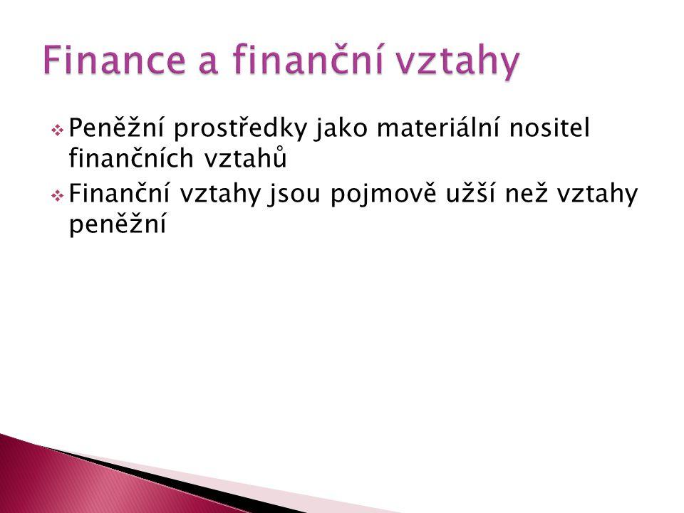  Peněžní prostředky jako materiální nositel finančních vztahů  Finanční vztahy jsou pojmově užší než vztahy peněžní