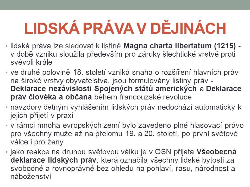 LIDSKÁ PRÁVA V DĚJINÁCH lidská práva lze sledovat k listině Magna charta libertatum (1215) - v době vzniku sloužila především pro záruky šlechtické vr