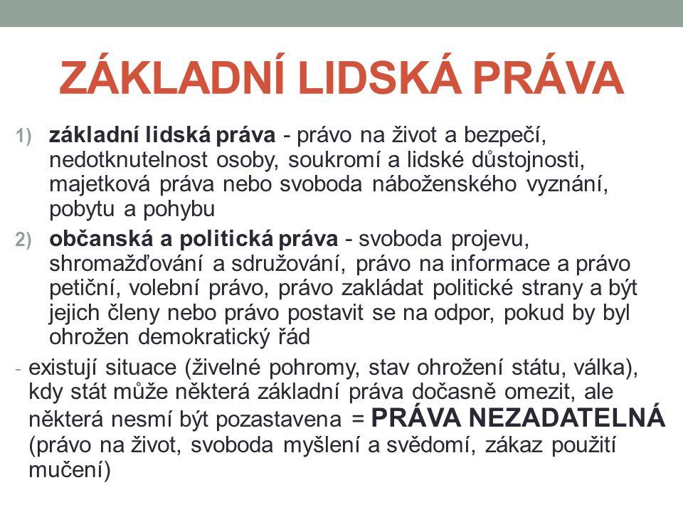 PROSTŘEDKY POUŽÍVANÉ NA OCHRANU LIDSKÝCH PRÁV a) Listina základních práv a svobod b) veřejný ochránce lidských práv – OMBUDSMAN c) spolky na ochranu lidských práv - k celosvětově největším patří Human Rights Watch, Amnesty International, v Česku například dále Člověk v tísni, Nesehnutí a Liga lidských práv