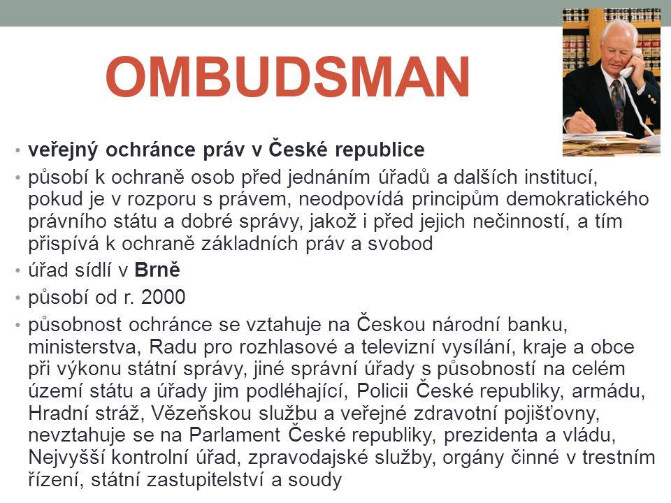 OMBUDSMAN veřejný ochránce práv v České republice působí k ochraně osob před jednáním úřadů a dalších institucí, pokud je v rozporu s právem, neodpoví