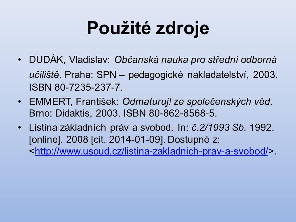 Použité zdroje DUDÁK, Vladislav: Občanská nauka pro střední odborná učiliště. Praha: SPN – pedagogické nakladatelství, 2003. ISBN 80-7235-237-7. EMMER