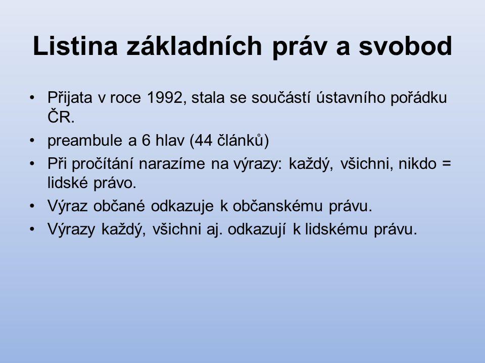 Listina základních práv a svobod Přijata v roce 1992, stala se součástí ústavního pořádku ČR. preambule a 6 hlav (44 článků) Při pročítání narazíme na