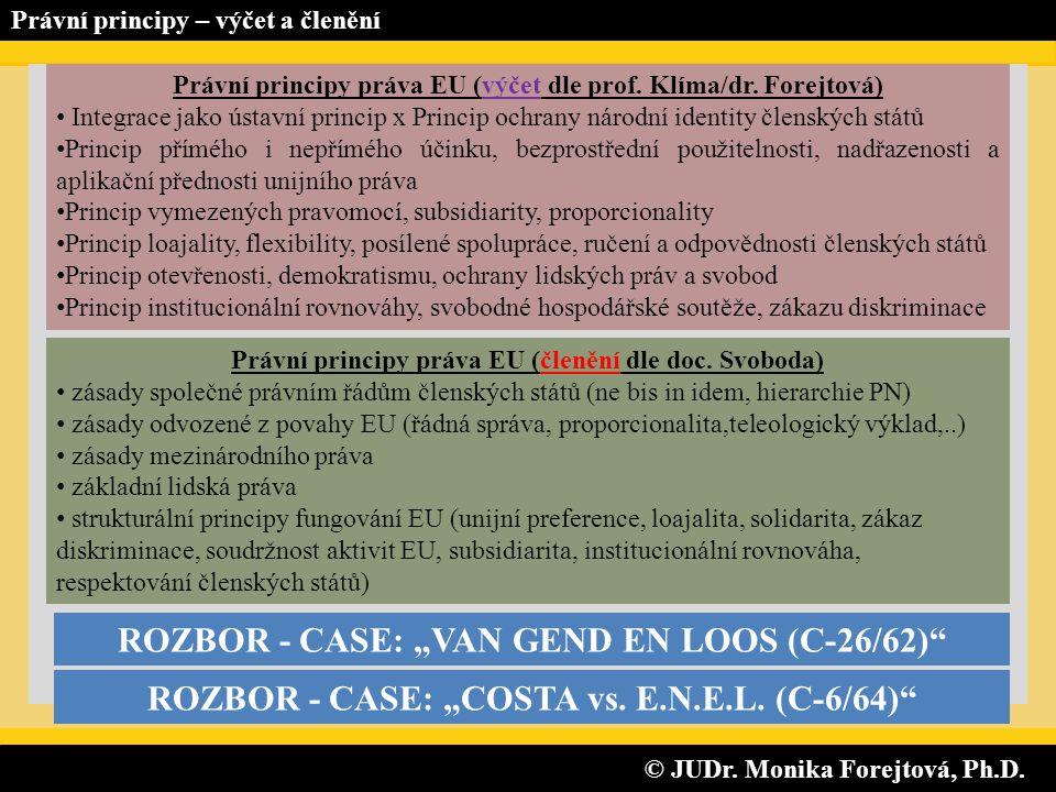 © JUDr. Monika Forejtová, Ph.D. © JUDr. Monika Forejtová, Ph.D. Právní principy – výčet a členění Právní principy práva EU (výčet dle prof. Klíma/dr.