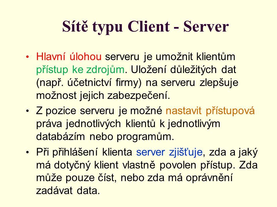 Sítě typu Client - Server Hlavní úlohou serveru je umožnit klientům přístup ke zdrojům.
