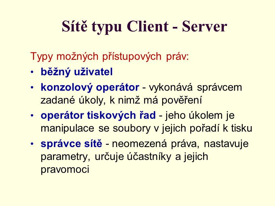 Sítě typu Client - Server Typy možných přístupových práv: běžný uživatel konzolový operátor - vykonává správcem zadané úkoly, k nimž má pověření operátor tiskových řad - jeho úkolem je manipulace se soubory v jejich pořadí k tisku správce sítě - neomezená práva, nastavuje parametry, určuje účastníky a jejich pravomoci