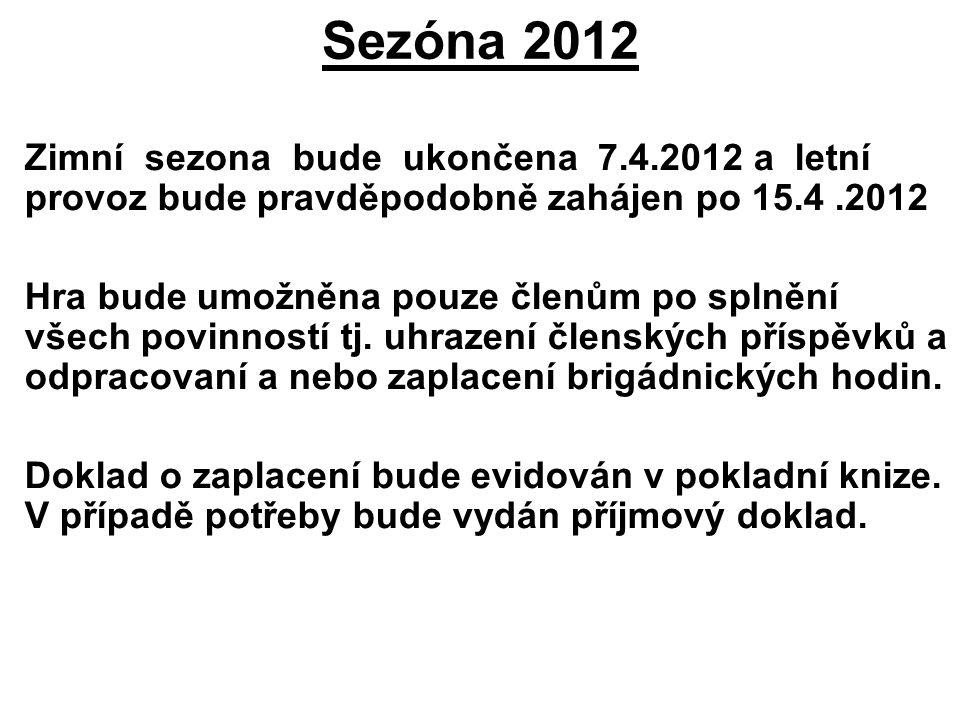 Sezóna 2012 Zimní sezona bude ukončena 7.4.2012 a letní provoz bude pravděpodobně zahájen po 15.4.2012 Hra bude umožněna pouze členům po splnění všech povinností tj.