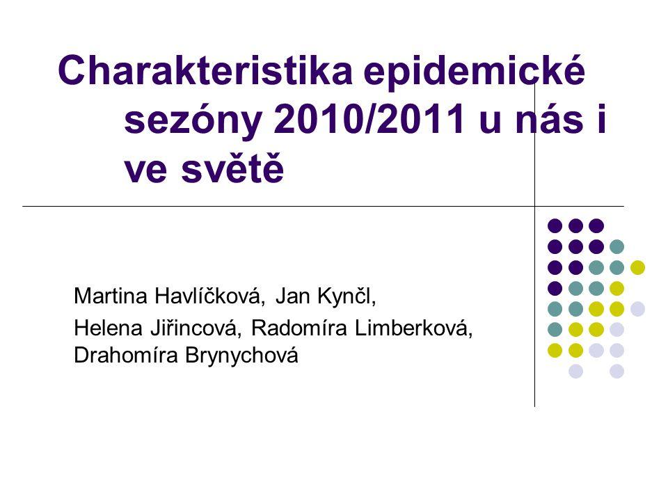 Charakteristika epidemické sezóny 2010/2011 u nás i ve světě Martina Havlíčková, Jan Kynčl, Helena Jiřincová, Radomíra Limberková, Drahomíra Brynychová
