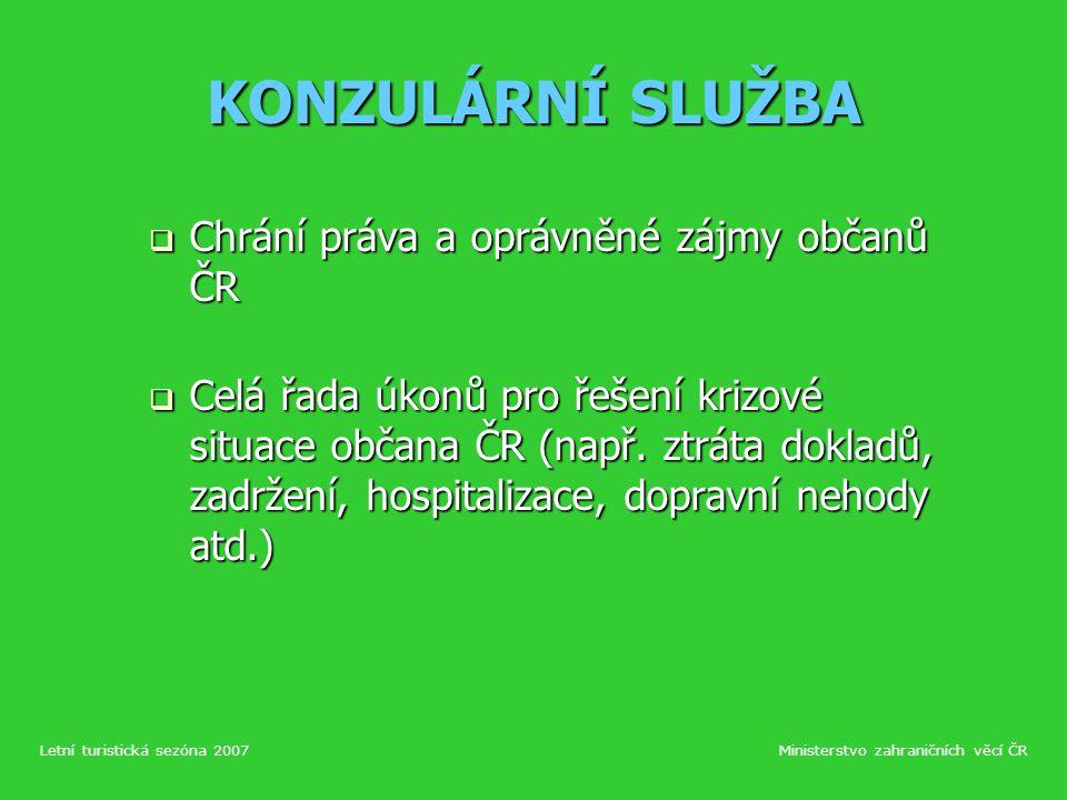 ROZŠÍŘENÍ SLUŽEB V TURISTICKÉ SEZÓNĚ 2007 Konzulární jednatelství Konzulární jednatelství Split, Rijeka, Barcelona, Marseille, Burgas, Podgorica.